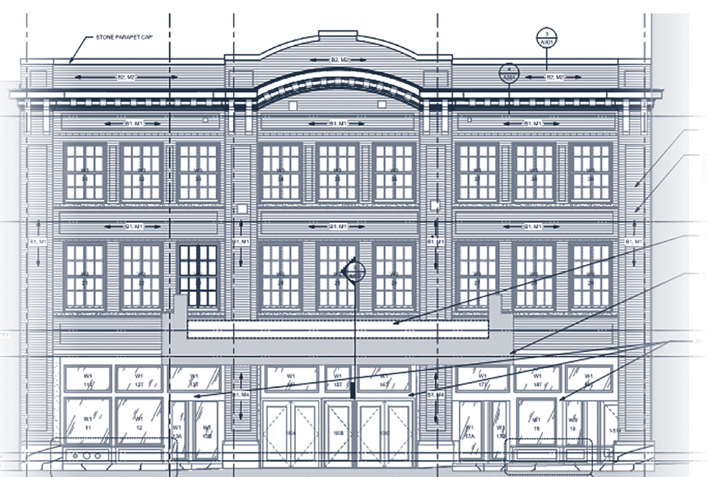Blueprint of the Englert facade